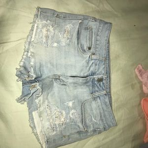 American eagle destotyed high waisted shorts